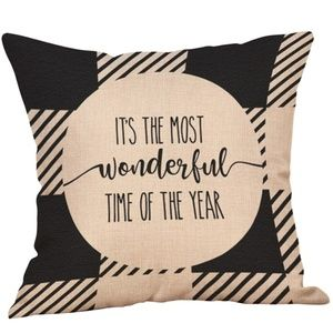 Pillow Cover- NEW- Christmas Black Plaid Time Year